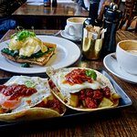 Florentine Eggs, back, and Soft Taco Breakfast Burritos, front