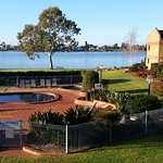 Looking out across the pool area to the Murray River