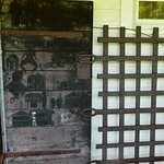Wood and iron doors from the old jail. Carvings on the door were made by prisoners.