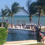 A very nice wedding being held on the beach