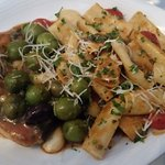 swordfish puttanesca with rigatoni