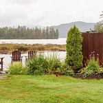 Beauty of area to relax among flower gardens looking out to Lake Placid.