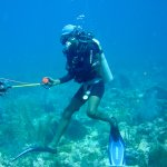 DIVE INSTRUCTOR ROY SMALL SPEARING A LIONFISH