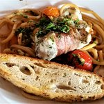 Monkfish w/ pancetta, tomato, basil & bucatini.