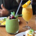 Matcha smoothie and juice