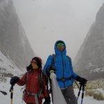 Heavy snowfall during trekking