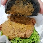 Ultraman Burger - Chicken Burger with Salted Egg Yolk Sauce