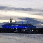"""Это вид на стадион """"Зенит-Арена"""", как раз с открытой веранды, где мой столик был."""