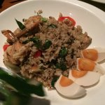 Green curry fried rice with seafood