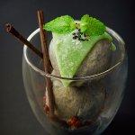 Mochi-topped Black Sesame Ice Cream