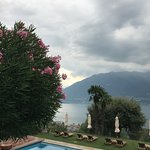 the outdoor pool with the view on Locarno lake