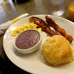 Love the blue corn grits and biscuits