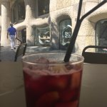 Copa de Sangria. With delicious frozen fruit. View from our table.
