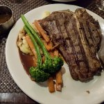 T Bone with Mashed Potatoes and Veges.