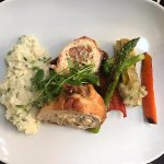 This is the stuffed chicken breast, with risotto I believe; my sister in law enjoyed it very muc