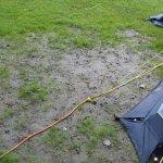 Mud around the tent