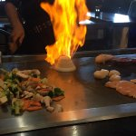 Lots of fresh veggies. And of course the flaming onion volcano!