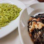 Trofie with pesto sauce, and squid ink tagliolini