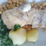 bacalhau, served with chick peas and boiled potatoes