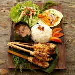 Local chicken or tofu sate with homemade peanut sauce
