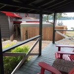 Our front deck, with view of employee kitchen entrance (smoking area) and walk-in fridge.