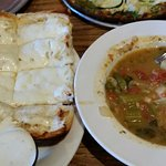Garlic cheese bread and soup