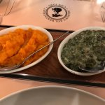 sides served family style, squash and creamed spinach, both good