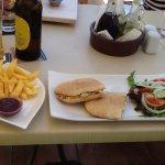 chicken tandoori pitta...salad....chips