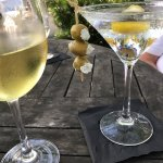 Chardonnay and Martini with Blue Cheese Olives