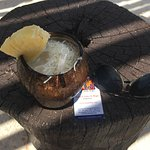 Amazing Pina Colada -- fresh shaved coconut on top.