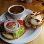Chicken burger with soup