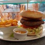 Delicious half pound steak burger