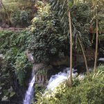 Waterfall in park next to hotel