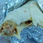 Inside of pork green chile burrito