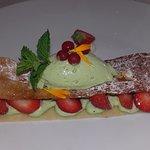 Dessert fraises pistache