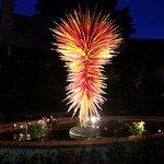 Lit glass blown sculpture at night