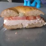 Bagel Sandwich with sundried tomato cream cheese and dill sauce