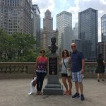 Standing next to Magnificent Mile at the bust of Jean Baptiste Pointe DuSable