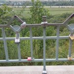 Love locks on the fence at the overlook