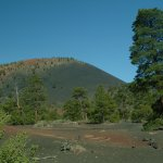 Sunset Crater Volcano. Note the red soil.