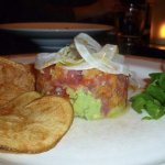 Tuna tartare and avocado with house-made potato chips