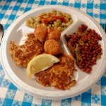 crab cakes, hush puppies, field peas, butter beans