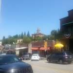 Old downtown shops and Superior court on the hill