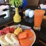 Local fruits for breakfast with fresh juice