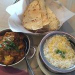 Main dish Aloo Gobi, with rice and papadum