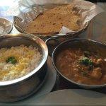 Main dish :Goan vegetable curry, with rice and papadum