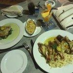 Barramundi dish and grilled prawns