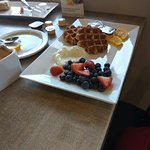 waffles with cream and fruits :) everyone's favourite!!