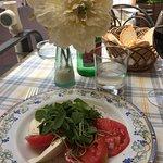 Zucchini flowers and insalata caprese