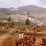 A portion of the beautiful Cyclorama painting in the Gettysburg National Visitors Center and Mus